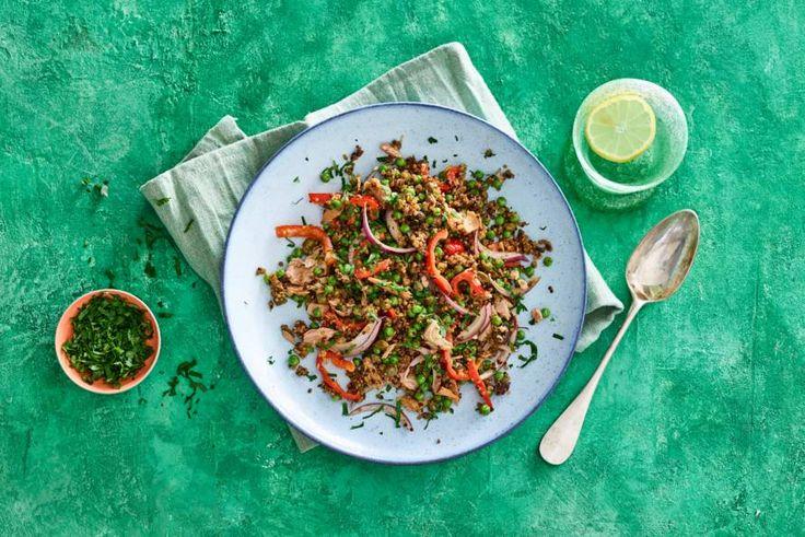 Kijk wat een lekker recept ik heb gevonden op Allerhande! Quinoa met groenten en tonijn