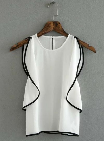 Women's Fashion Summer Sleeveless Flounce trim Pullover Blouse - AZBRO.com