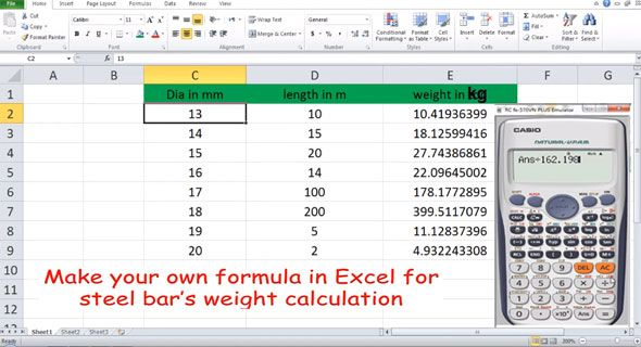 How To Calculate The Weight Of Steel Bar With Excel Steel Bar Steel Staircase Design