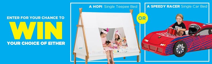 Enter for your chance to WIN your choice of either a Hopi Single Teepee Bed or a Speedy Racer Single Car Bed | Competition open 1 July - 1 August 2017