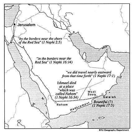 map of lehi's trail | Figure 2: BYU Geography Department map of the Lehi party's journey ...