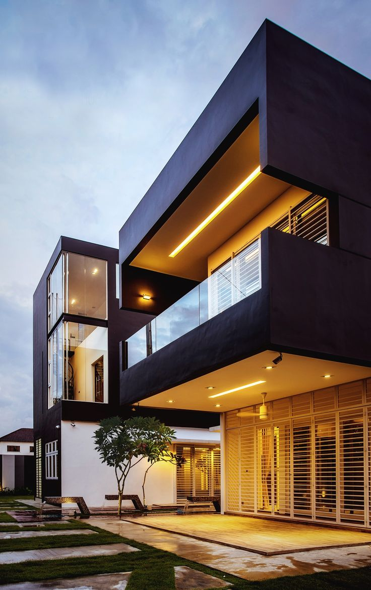 23 best house exterior images on pinterest exterior for Minimalist house design in malaysia