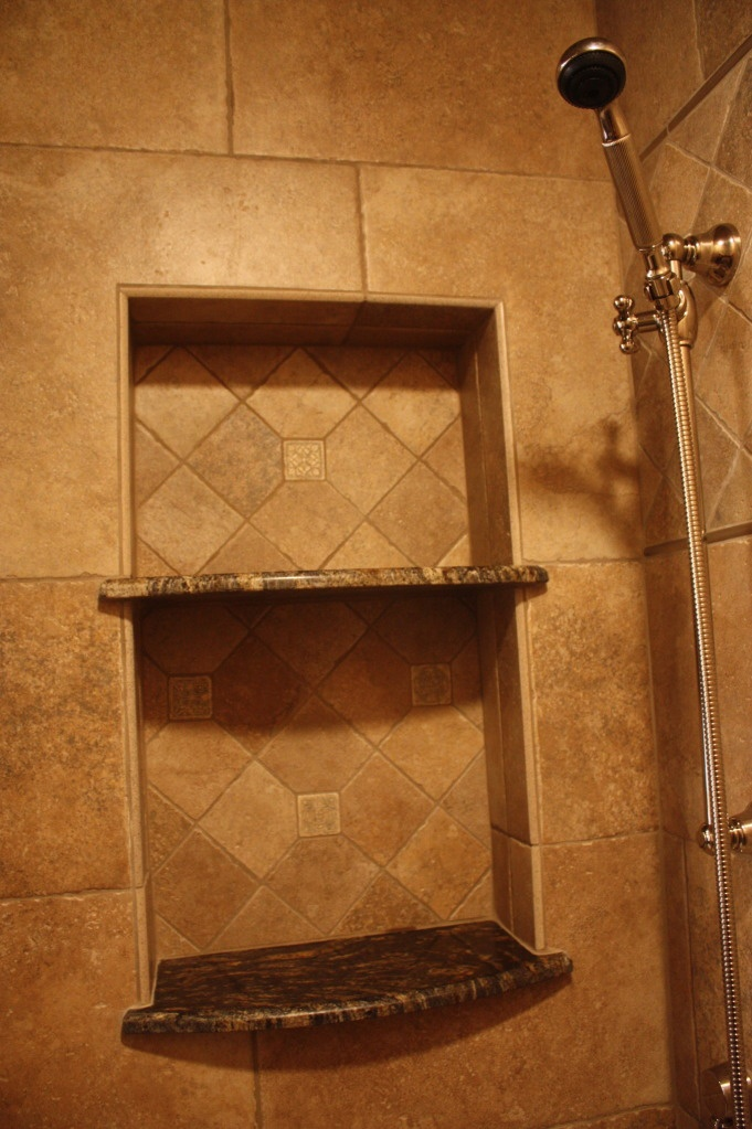 Shower niche niches pinterest shelves showers and tile for Bathroom alcove shelves