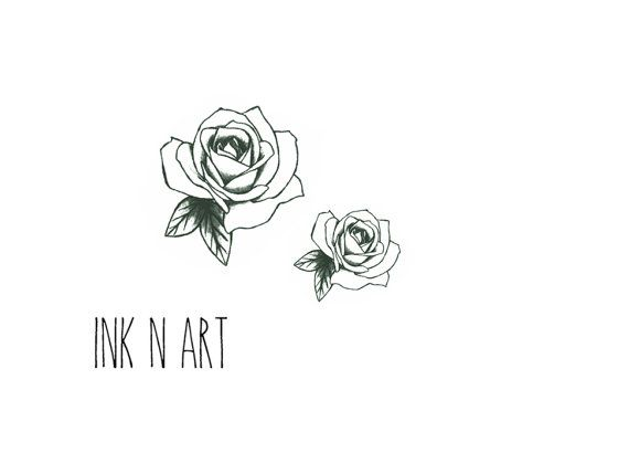2pcs Vintage Rose illustration InknArt Temporary by InknArt