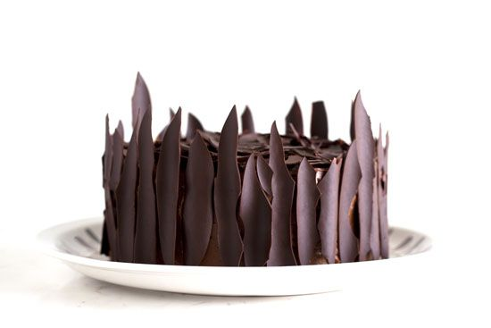 How to make Chocolate Shards: You simply melt chocolate, spread it thinly on a parchment paper, roll it into a tube, chill and unroll. That's it. Hearing the chocolate breaking into shards as you unroll the tube is priceless.