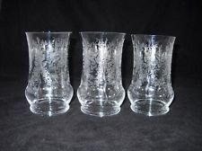 Set of Three HTF Vintage Elegant HEISEY ORCHID ETCHED Flat Iced Tea Tumblers