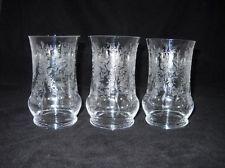 Set of Three HTF Vintage Elegant HEISEY ORCHID ETCHED Flat Iced Tea Tumblers