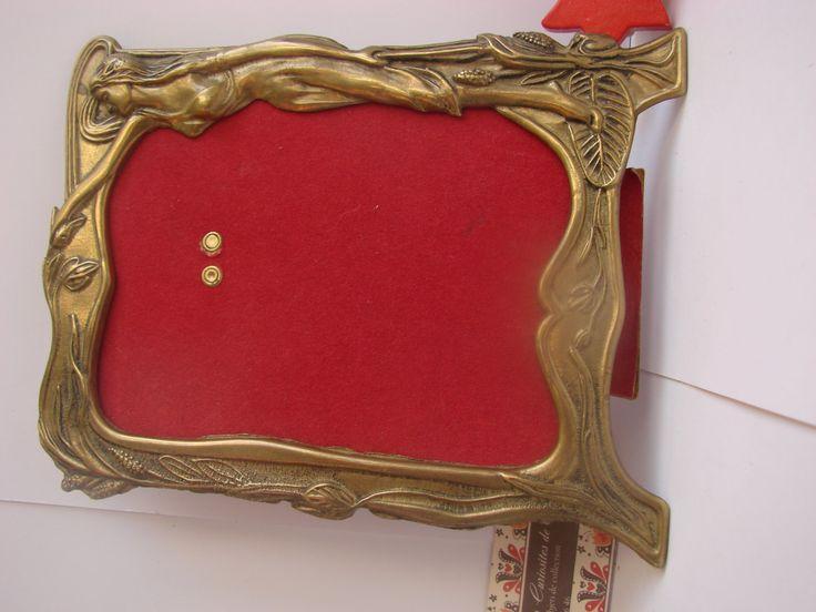 Vintage joli cadre rectangulaire style Art Nouveau déco Femme + carton laiton 1920 envoi gratuit H 20 cm largeur 16 cm cadeau Saint Valentin de la boutique CuriositesdeSophie sur Etsy