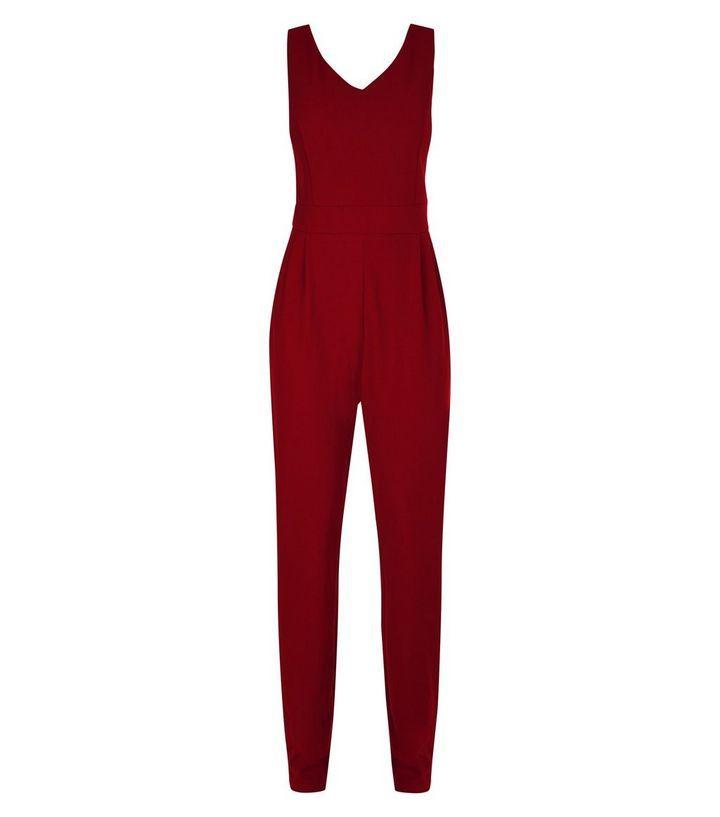 Mela Burgundy Tailored Jumpsuit   New Look