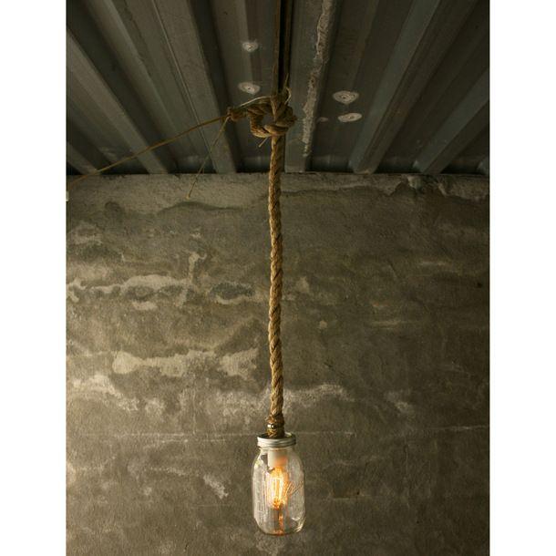 Mason Jar Rope Pendant