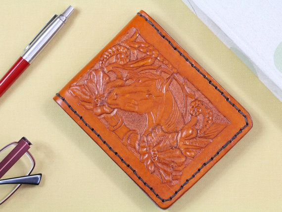 Floral Horses Head Wallet  Carved Leather by TinasLeatherCrafts. Repin To Remember.