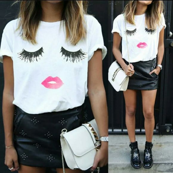 Ladies Fashion T-Shirt Fun Eye lash - red Lips Cotton T-shirt  Bust size: 34-36 inches. Length : 25.5 in. Shoulder: 16.53 inches. sleeves: 5.7 inches. Tops Tees - Short Sleeve