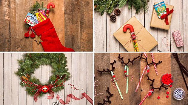 Gifts and décor are made sweeter with these clever DIY tricks. See how to make a candy cane reindeer and a unique, festive candy wreath.