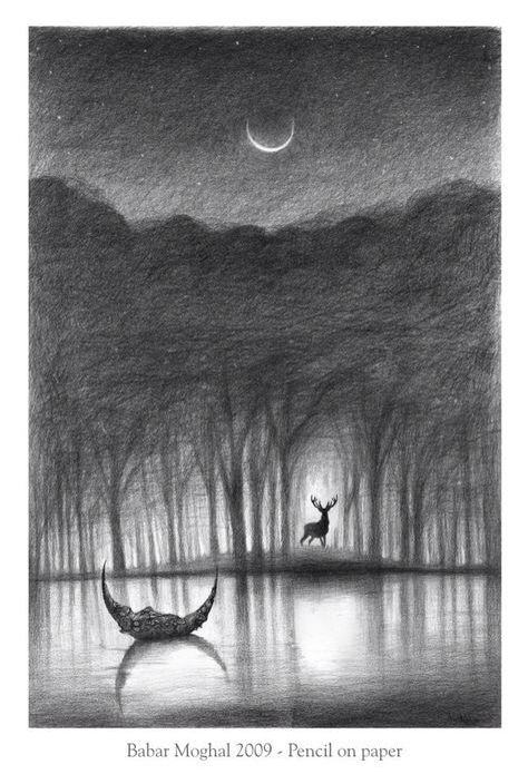 Moon, drawing, forrest, Lake