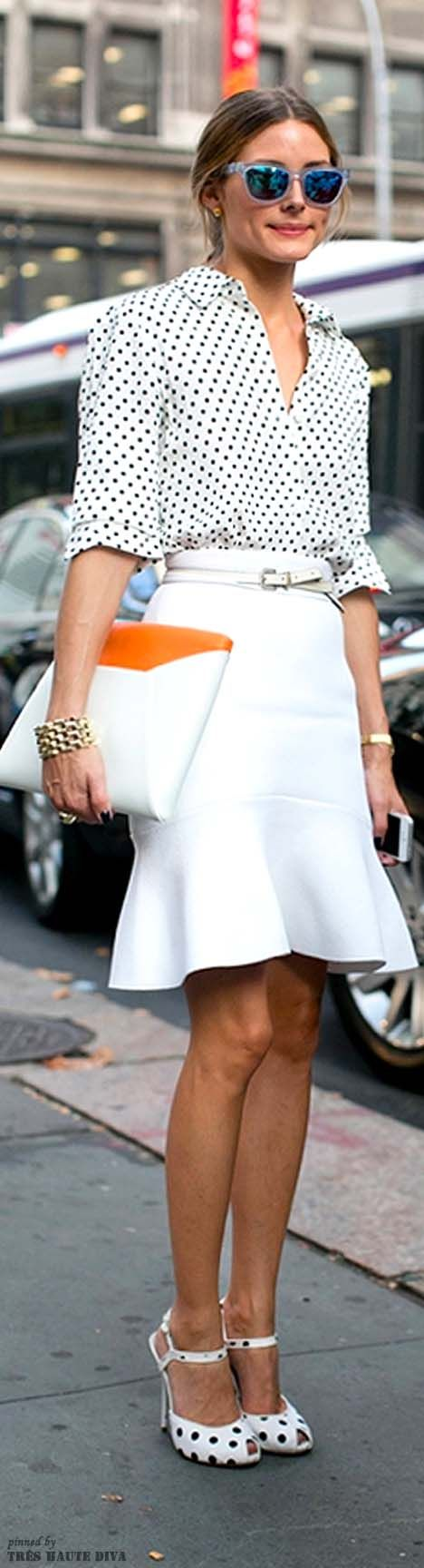 black and white polka dots with a pop of orange (street style #NYFW '14)