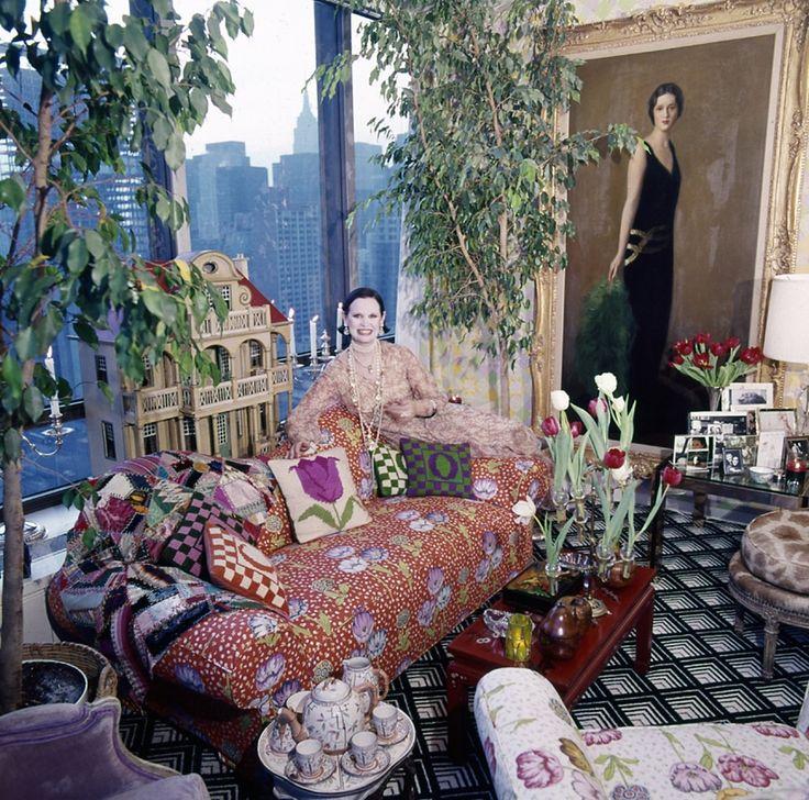 Gloria Vanderbilt sits in her Manhattan living room   Photographed by Horst P. Horst, Vogue, June 1975
