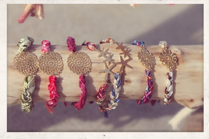 Braided with Love bracelets! 14k gold plated filigree & starfish charms and silky satin ribbons.