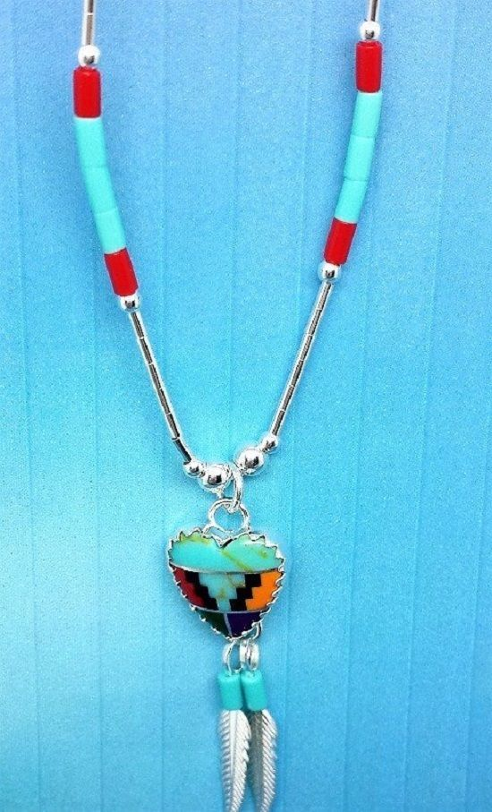 Zuni Silver Heart  Inlayed Necklace with dangling silver feather.