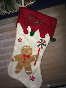Embroidered Personalized Christmas Stockings - Gingerbread Man