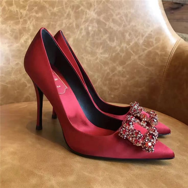 88.55  Watch here - 2017 Fashion Crystal Women Pumps High Heels Red Silk Ladies  Shoes b6d2f74641be