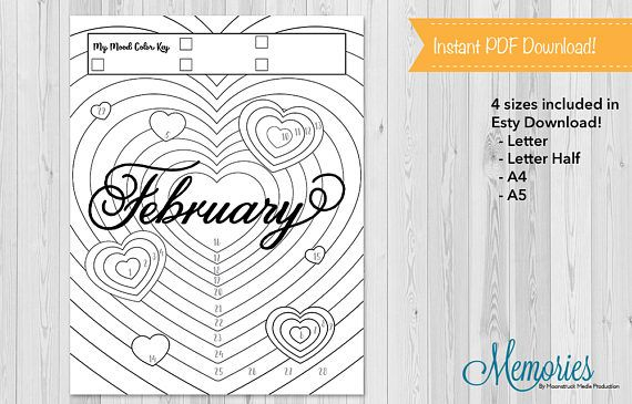 Bullet Journals are a fun way to plan out your year! But it takes so much time! With these bullet template mood trackers you can track your mood all month long! Track the month of February with this monthly mood chart by filling in your mood to create one heart art! Fill in the