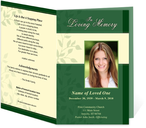 Funeral Service Programs: Ambience Contemporary Single Fold Template For A Funeral  Memorial Service Ceremony