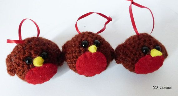 Amigurumi Robin Tree Decorations by MojosDelights on Etsy