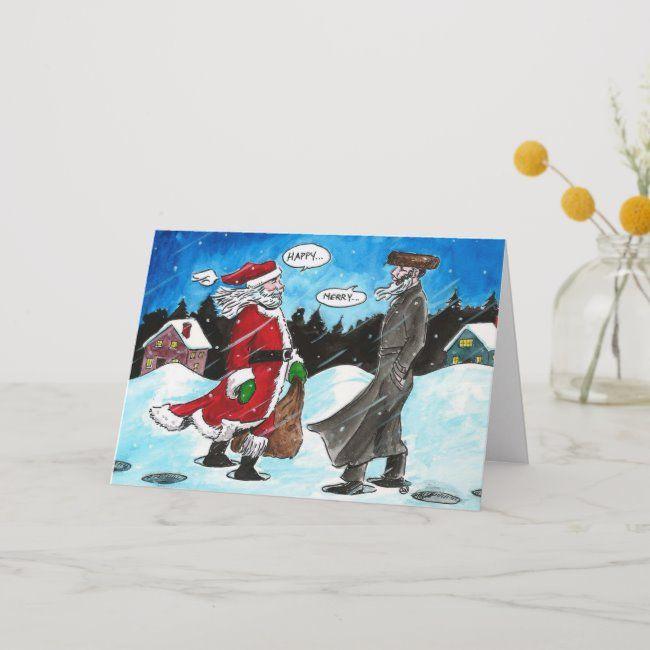 Santa Encounters Hasidic Jew Holiday Card