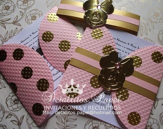 Baby Shower Minnie Mouse Invitations Gold Pink Minnie Mouse