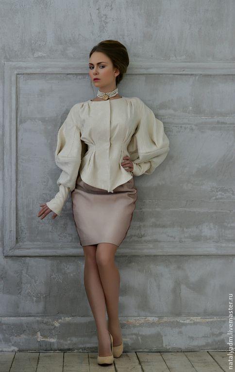 """Жакет и юбка из авторской коллекции """"Обаяние холода"""" - белый,цветочный"""