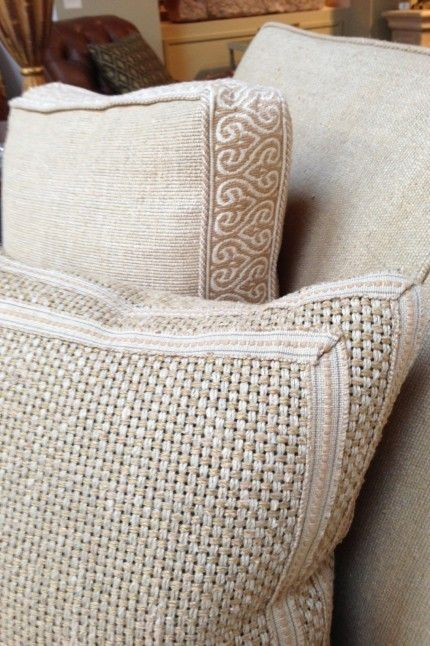 Box pillow and great textures and textural trims