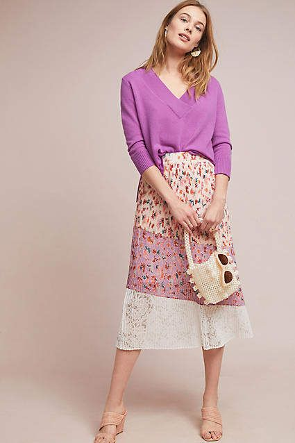 038ef28c11 LAIA Pleated Floral Midi Skirt in 2019 | Products | Midi skirt ...