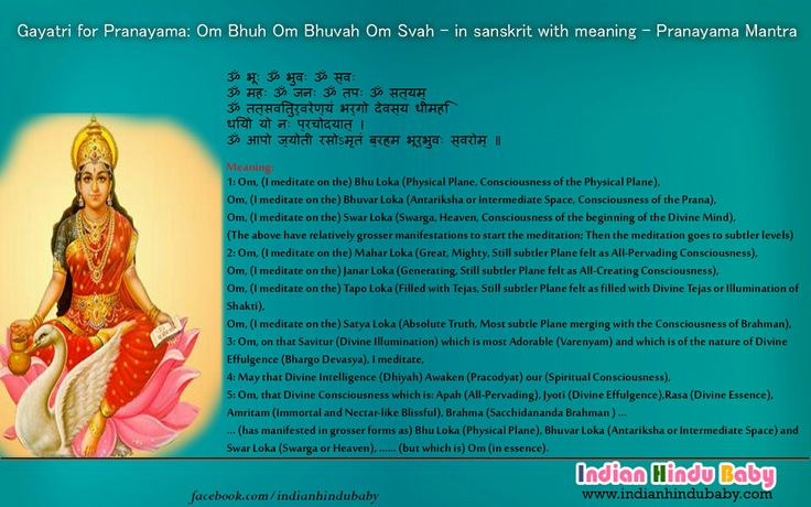 Know the meaning of sanskrit slok of Goddess Gayatri - 'Pranayama Mantra'