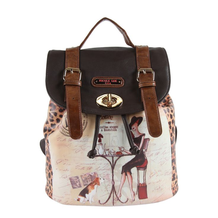 Nicole Lee Coffee Print Backpack | Overstock™ Shopping - Big Discounts on nicole lee Leather Backpacks