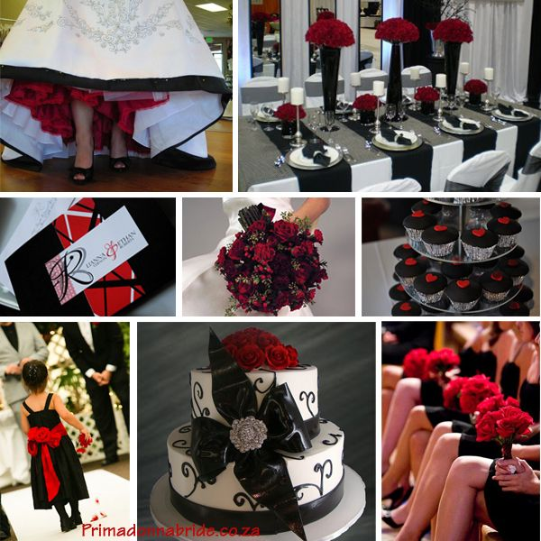 Red Ivory And Black Burgundy Wedding Theme Colors