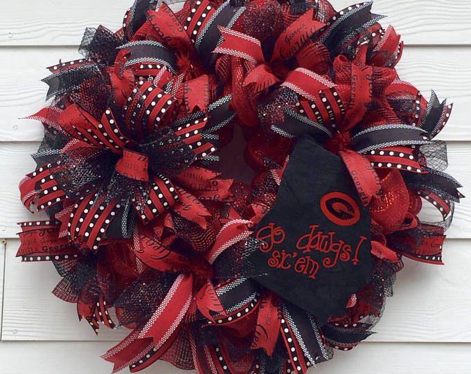 Best Football Wreath, Sports Wreath, College Wreath, Georgia Bulldogs, Front Porch Wreath, Football Wreath, Best Fall Wreath, College Decor