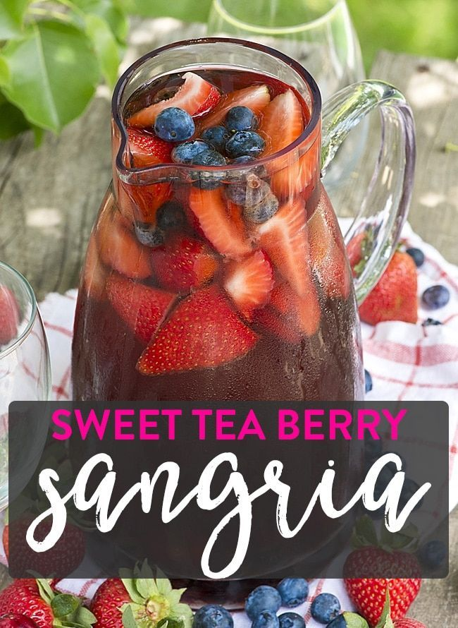A white wine sangria that uses steeped berry tea! Load the pitcher with summer berries! This sweet tea berry sangria is the ultimate summer cocktail!
