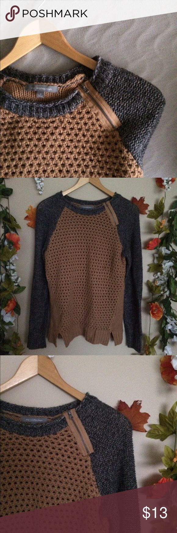 NY collection sweater *ny collection brand *size small *brown and gray with style zipper by shoulder NY Collection Sweaters Crew & Scoop Necks