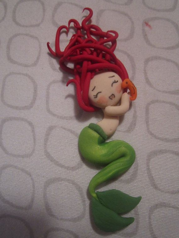 Made to Order Chibi Ariel Clay Doll Pendant by ThePunkPalace, $10.00