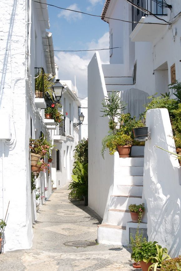 """Street in Frigiliana, Spain: """"White street"""" from the picture is located in Frigiliana -small, Andalusian town. The town is made up of steep cobbled alleyways winding past white houses resplendent with flowers."""