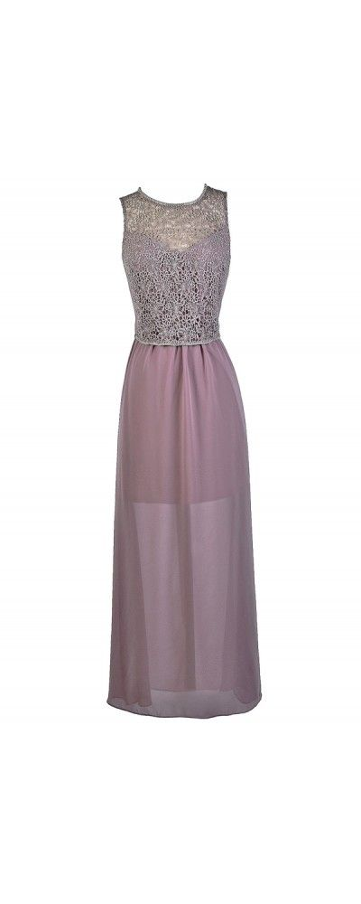 Lily Boutique Dusky Dreams Lace Embellished Maxi Dress in Amethyst.