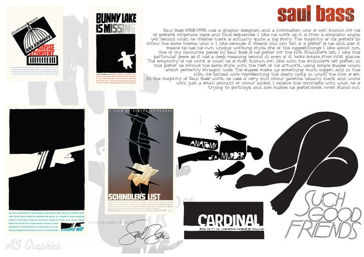 Saul bass information and copies of his work using Illustrator (right hand side)