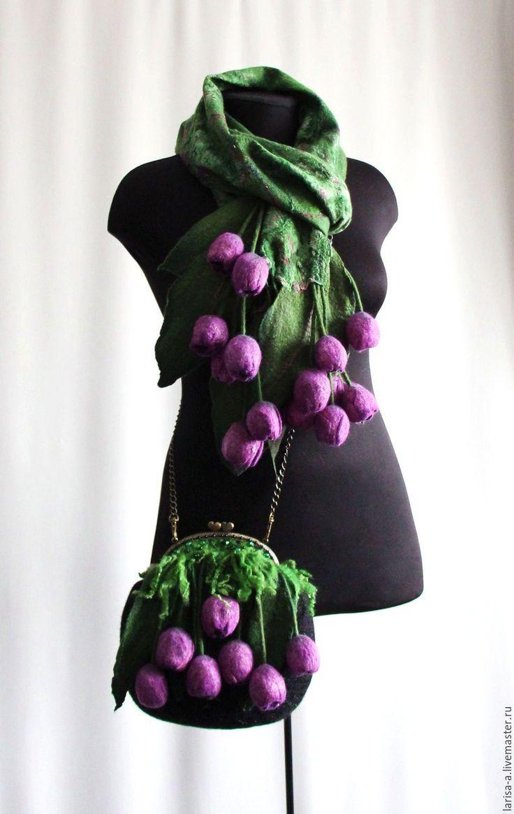 """Купить Валяный  клатч """" Фиолетовые тюльпаны"""" - цветочный, фиолетовый, аксессуары, комплект, валяный комплект"""