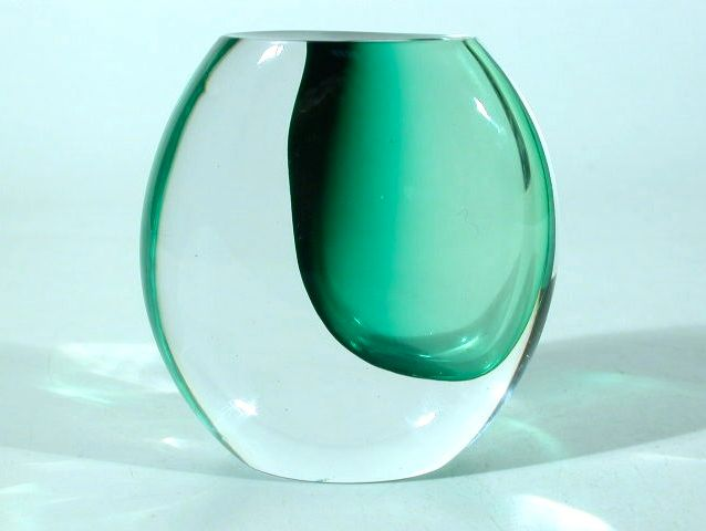 handblown sommerso glass vase with melting green inside of clear glass, designed by vicke lindstrand for kosta brava / sweden 1960