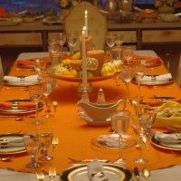 "70"" x 144"" Oval Tablecloth Havana Collection - Ideal for the fall holiday season"