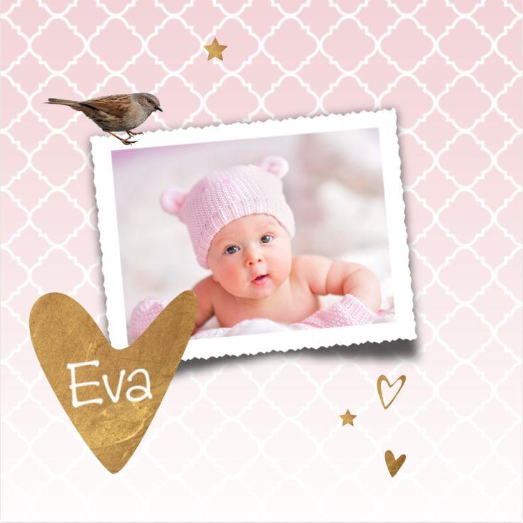 LOVZ | Sweet foto geboortekaartje met koper look, hartjes en sterren voor een meisje! Met Marokkaanse print op de ondergrond. Alles staat los en is te bewerken
