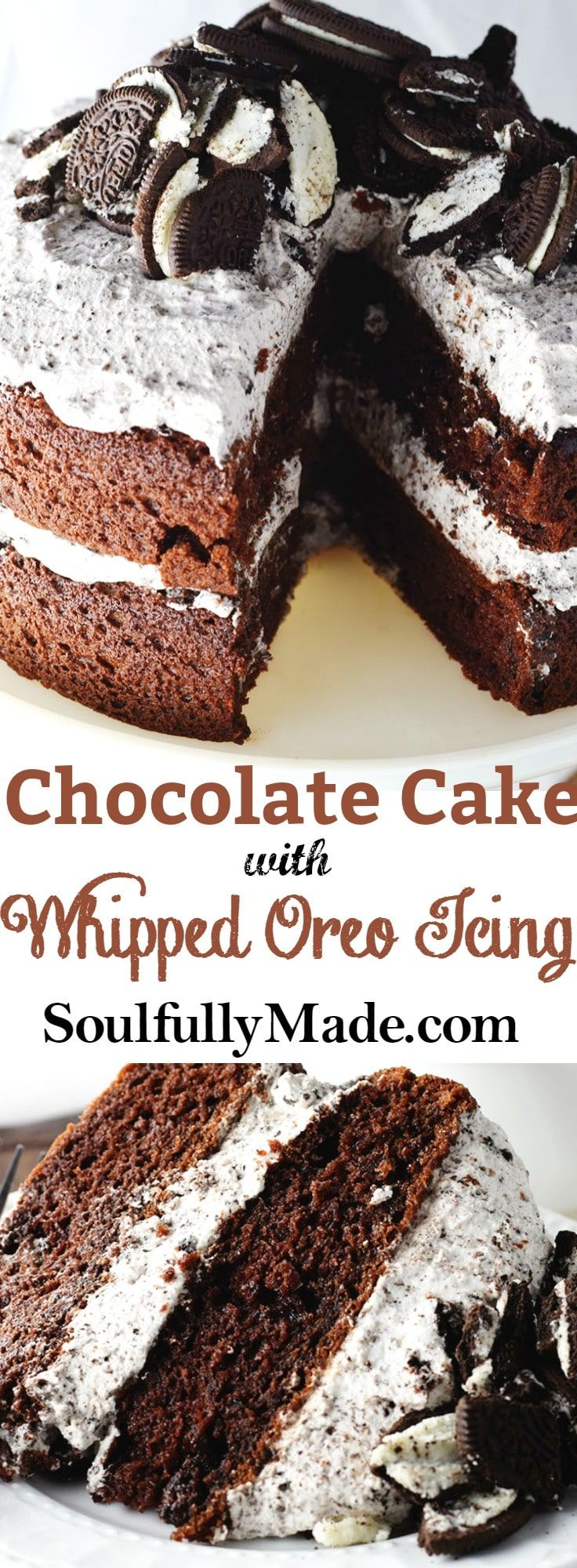 Chocolate Cake with Whipped Oreo Icing is a deliciously soft, moist cake filled and topped with layers of heavenly whipped Oreo cookie icing!