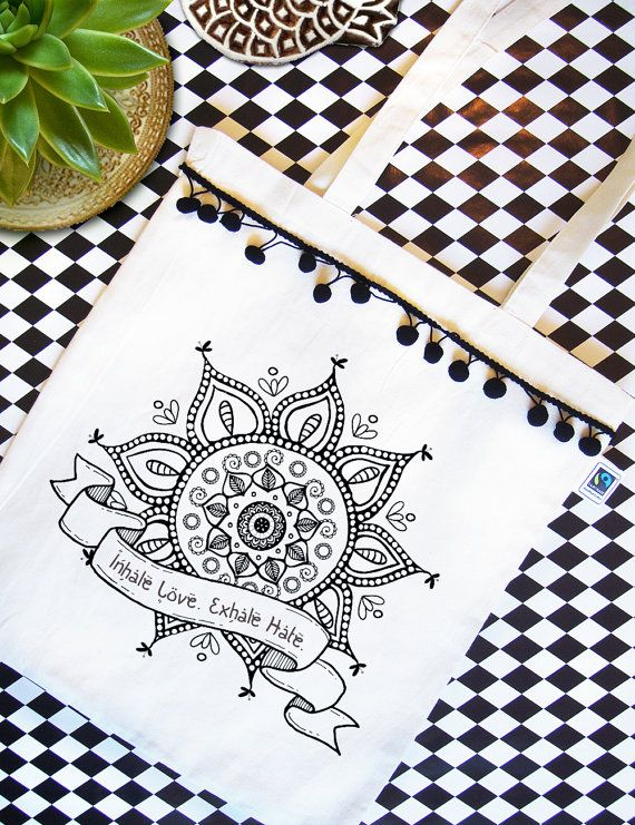 MANDALA tote bag  Organic cotton Fairtrade  Natural by RooftopCo  #EtsyGifts #fairtrade #organiccotton #etsy #etsygreekstreetteam #ethicalfashion #totebags #totes #organicbags #pompom #mandala #yoga #spiritual