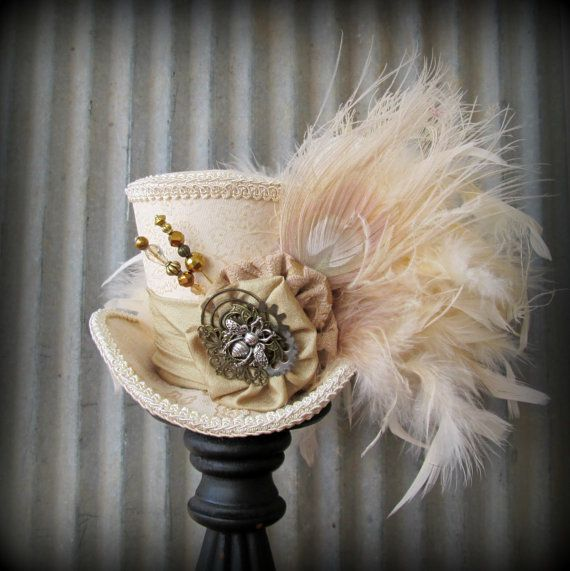 Steampunk Ivory Mini Top Hat Alice in Wonderland Mini by ChikiBird