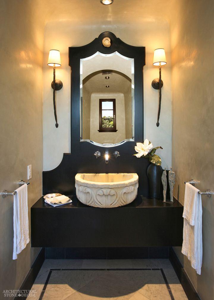 #Modern #powder #room #marble #bowl #sink #canada